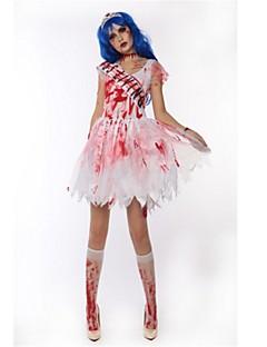 Skjelett / Kranium Zombie Cosplay Kostumer Halloween De dødes dag Festival / høytid Halloween-kostymer Hvit Mote