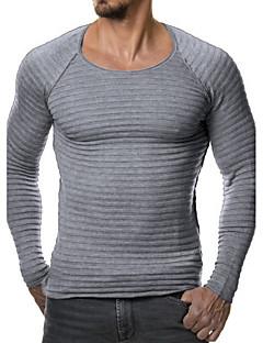 tanie Męskie swetry i swetry rozpinane-Męskie Rozmiar plus Sport Okrągły dekolt Pulower Jendolity kolor Długi rękaw