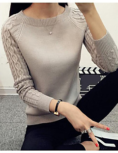 Damen Standard Pullover-Lässig/Alltäglich Retro Solide Rundhalsausschnitt Langarm Nylon Frühling Dünn Mikro-elastisch