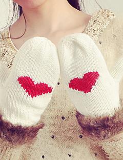 レディース 冬 カジュアル 冬物手袋 保温 ニット ファッション ラビット アクリル ニット ジャカード織 手首丈 指先