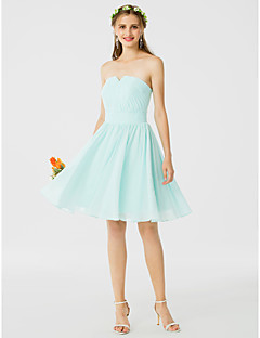 cheap Short Bridesmaid Dresses-A-Line Princess Notched Knee Length Chiffon Bridesmaid Dress with Draping Ruched by LAN TING BRIDE®