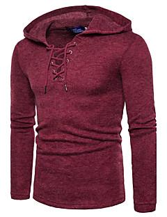 Normal Pullover Fritid/hverdag Gatemote Aktiv Herre,Ensfarget Med hette Langermet Bomull Polyester Høst Vinter Medium Mikroelastisk
