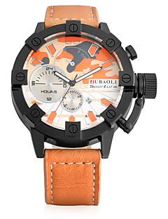 Χαμηλού Κόστους Brand Watches-JUBAOLI Ανδρικά Χαλαζίας Ρολόι Καρπού Κινέζικα Hot Πώληση Δέρμα Μπάντα Βίντατζ Καθημερινό Μοναδικό Watch Creative Μοντέρνα Απίθανο Χακί