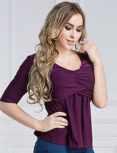 billige T-shirt-V-hals Dame - Ensfarvet Bomuld I-byen-tøj T-shirt