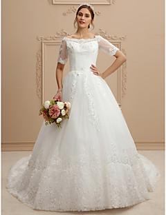 A-Linie Bateau Hals Kathedralen Schleppe Spitze Tüll Hochzeitskleid mit Spitze durch LAN TING BRIDE®