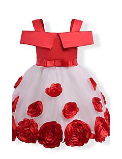 שמלה כותנה פוליאסטר סתיו כל העונות שרוול קצר יומהולדת יום יומי\קז'ואל חג אחיד פרחוני סרוג הילדה של