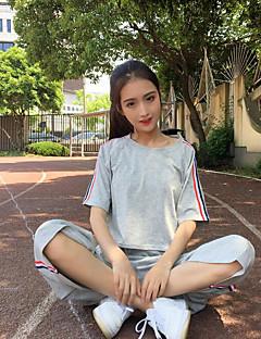 お買い得  レディースツーピースセット-女性用 お出かけ コットン Tシャツ ソリッド パンツ