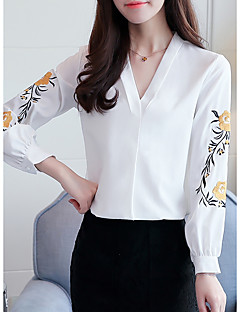 Women's Casual/Daily Work Cute Fall Blouse,Solid Embroidery V Neck Long Sleeves Polyester Thin