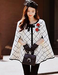 Dames Vintage Street chic Verfijnd Herfst Winter Cloak / Capes,Feest Uitgaan Kleurenblok Ronde hals Mouwloos Normaal Acryl Polyester