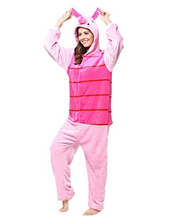 billige Kigurumi-Kigurumi-pysjamas Grisunge / gris Onesie-pysjamas Kostume Flanell Fleece Rosa Cosplay Til Pysjamas med dyremotiv Tegnefilm Halloween
