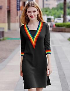 Χαμηλού Κόστους Sweater Dresses-Γυναικεία Κομψό στυλ street / Εκλεπτυσμένο Γραμμή Α / Θήκη / Πλεκτά Φόρεμα - Συνδυασμός Χρωμάτων Πάνω από το Γόνατο Λαιμόκοψη V