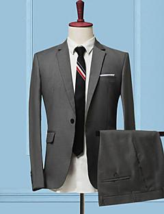 Herren Solide Einfach Lässig/Alltäglich Arbeit Anzug,Peter Pan-Kragen Herbst Winter Lange Ärmel Standard Polyester Patchwork