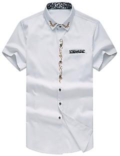 お買い得  メンズシャツ-男性用 刺繍 プラスサイズ シャツ スリム ソリッド 刺繍