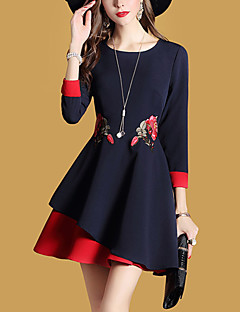 Women's Daily Going out Street chic A Line Dress,Embroidered Round Neck Mini Long Sleeves Polyester Spring Fall Mid Rise Micro-elastic