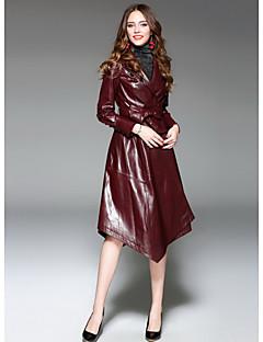 レディース お出かけ 冬 トレンチコート,ストリートファッション シャツカラー ソリッド ロング Lambskin 長袖