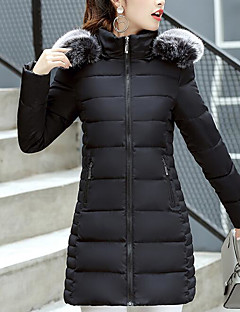 Women's Long Padded Coat,Street chic Daily Going out Solid-Cotton Cotton Long Sleeves