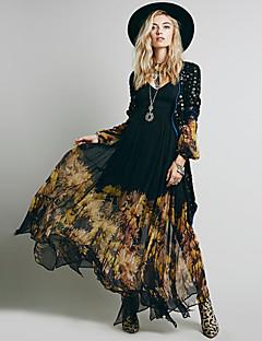 Damen A-Linie Hülle Swing Kleid-Ausgehen Lässig/Alltäglich Einfach Street Schick Anspruchsvoll Druck V-Ausschnitt Midi Langarm Polyester