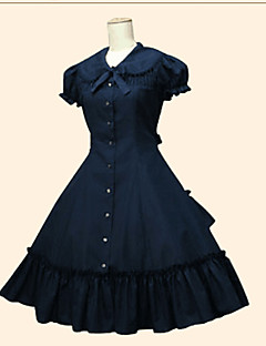 Gothic Lolita Dress Princess Women's Girls' One Piece Dress Cosplay Black White Beige Short Sleeves