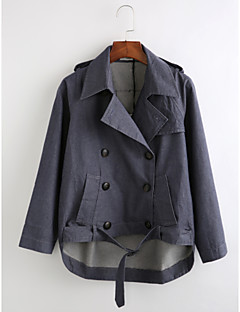 billige Lagersalg-Bomull Normal Skjortekrage Frakk Ensfarget Vinter Høst Vintage Daglig Dame