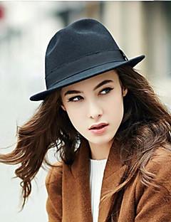 billige Hatter til damer-Dame Fedora - Ren Farge, Ensfarget Bomull