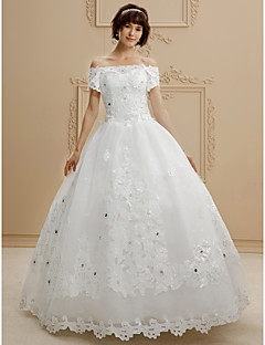 Ball Gown Off-the-shoulder Floor Length Lace Tulle Wedding Dress with Beading Appliques by QQC Bridal