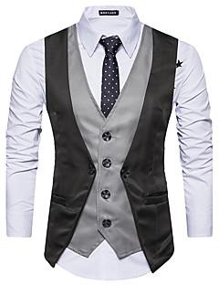 Polyester Ermeløs,Skjortekrage Singleter Fargeblokk Alle sesonger Enkel Fest Herre