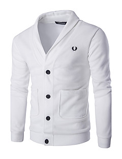 Men's Going out Casual Regular Cardigan,Solid Shirt Collar Long Sleeves Cotton Fall Medium Micro-elastic