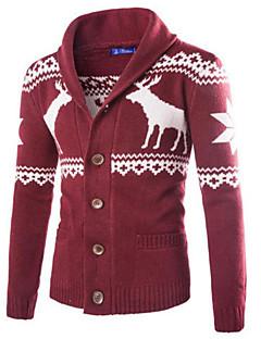メンズ カジュアル/普段着 レギュラー カーディガン,幾何学模様 シャツカラー 長袖 コットン 秋 冬 ミディアム 伸縮性あり