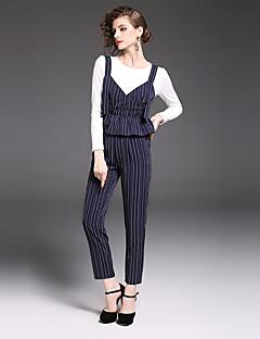 Damen Gestreift Anspruchsvoll Lässig/Alltäglich Arbeit T-Shirt-Ärmel Hose Anzüge,Rundhalsausschnitt Herbst Lange Ärmel