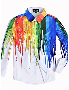 billige Herremote og klær-Tynn Store størrelser Skjorte - Fargeblokk Regnbue Punk & Gotisk Helg Klubb Herre