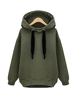Women's Casual/Daily Hoodie Solid Hooded Micro-elastic Cotton Long Sleeve Fall