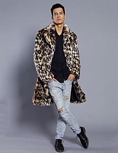 メンズ パーティー プラスサイズ 冬 ファーコート,ストリートファッション パンク&ゴシック シャツカラー レオパード ロング フェイクファー 長袖