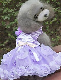 billiga Hundkläder-Hund Klänningar Hundkläder Blommig/Botanisk Purpur Rosa 100% Polyester Kostym För husdjur Ledigt/vardag