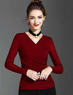 Dames Vintage Street chic Verfijnd Lente Herfst T-shirt,Feestdagen Uitgaan Effen V-hals Lange mouw Nylon Medium