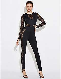 Women's Lace Slim JumpsuitsCasual/Daily Club Sexy Simple Solid Lace Mesh Zipper Slim Round Neck Long Sleeve Mid Rise Micro-elastic Spring Fall