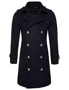 メンズ お出かけ カジュアル/普段着 秋 冬 ピーコート,シンプル ストリートファッション シャツカラー ソリッド ロング ナイロン 長袖