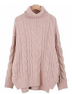 baratos Suéteres de Mulher-Mulheres Manga Longa Pulôver - Sólido / Gola Alta / Outono / Inverno