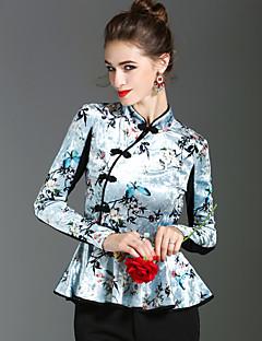 preiswerte -Damen Druck Retro Street Schick Anspruchsvoll Party Ausgehen T-shirt,Ständer Frühling Herbst Langarm Polyester Mittel