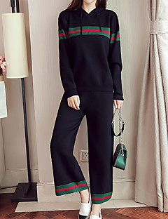 Women's Daily Plus Size Simple Fall Hoodie Pant Suits
