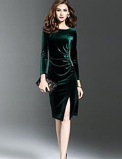 Women's Going out Work Sexy Street chic Sophisticated Sheath Dress,Solid Round Neck Knee-length Long Sleeves Others Fall Winter Mid Rise