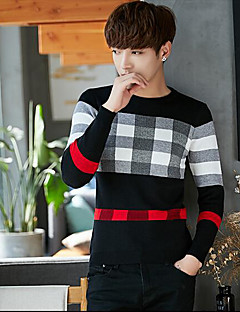 Men's Casual/Daily Regular Pullover,Print Round Neck Long Sleeves Others Fall Winter Medium Micro-elastic