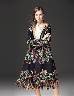 Dames Street chic Herfst Winter Trenchcoat,Uitgaan Casual/Dagelijks Print Overhemdkraag Lange mouw Lang Katoen Overige