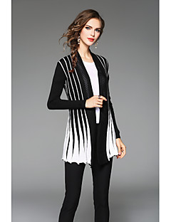 cheap Women's Sweaters-Women's Long Sleeves Cardigan - Color Block, Pleated