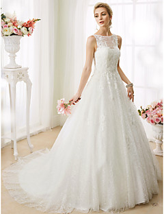 cheap LAN TING BRIDE®-A-Line / Princess Illusion Neck Court Train Beaded Lace Made-To-Measure Wedding Dresses with Beading / Appliques by LAN TING BRIDE®