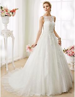 preiswerte Hochzeitskleider-A-Linie Prinzessin Illusionsausschnitt Hof Schleppe Perlen Spitze Benutzerdefinierte Brautkleider mit Perlenstickerei Applikationen durch