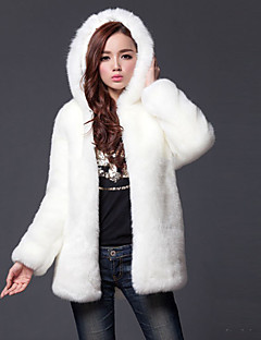 Women's Daily Plus Size Simple Casual Street chic Winter Fur Coat,Solid Hooded Long Sleeve Long Polyester Fur Trim