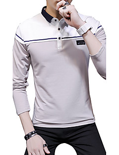 Men's Daily Plus Size Cute Casual Street chic Fall Polo,Solid Print Color Block Shirt Collar Long Sleeves Cotton Modal Medium