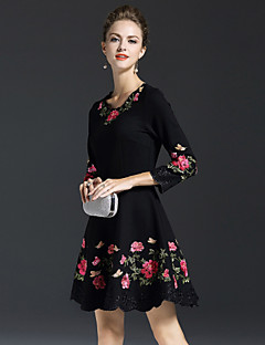 Women's Daily Going out Work Chinoiserie Sophisticated A Line Dress,Embroidered Round Neck Above Knee 3/4 Length Sleeves Nylon Fall Mid
