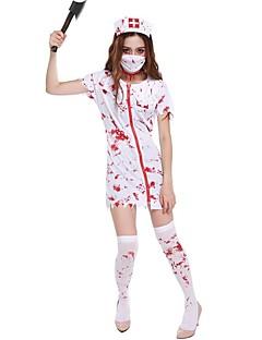 billige Halloweenkostymer-Zombie Sykepleiere Cosplay Kostumer Jul Halloween Karneval Oktoberfest Nytt År Festival / høytid Halloween-kostymer Hvit Helfarge Mote