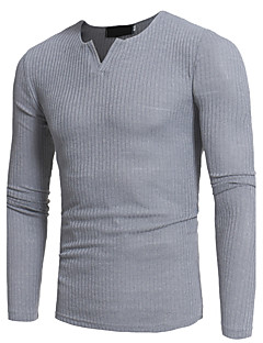 Men's Plus Size Casual/Daily Simple Fall T-shirt,Solid Deep V Long Sleeves Polyester Medium